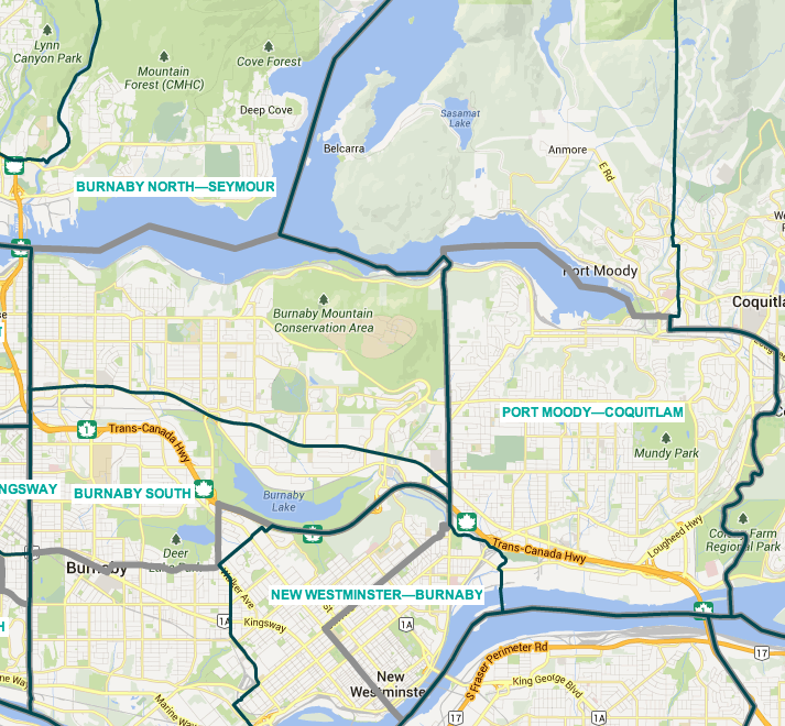 Burnaby-Douglas shifts south and becomes Burnaby South, Burnaby-New Westminster shifts east and becomes New Westminster-Burnaby, and New Westminster-Coquitlam shifts northeast and becomes Port Moody-Coquitlam. ALL VERY SIMPLE.