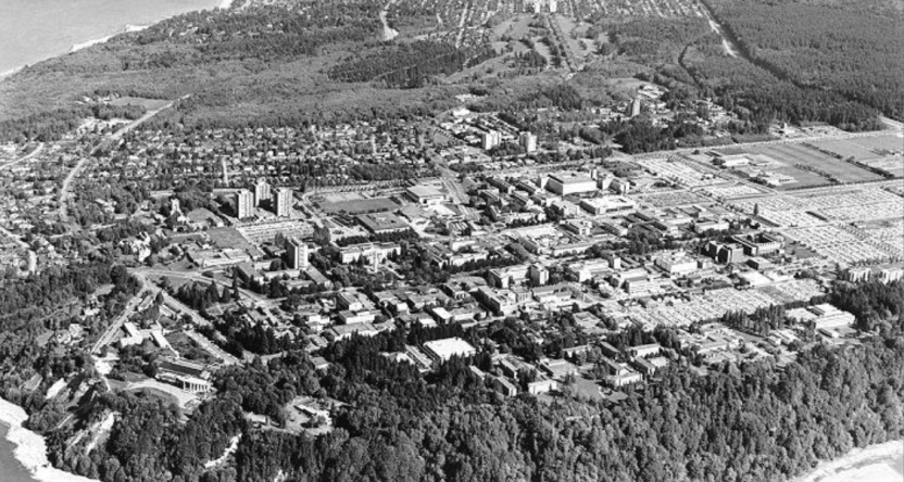 An aerial shot of UBC from 1983
